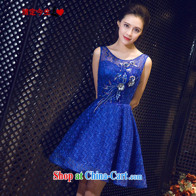 Love Life antique wood drilling 2015 summer New Field shoulder-neck royal blue short dress uniform toasting banquet dress wedding bridesmaid clothing turquoise XL