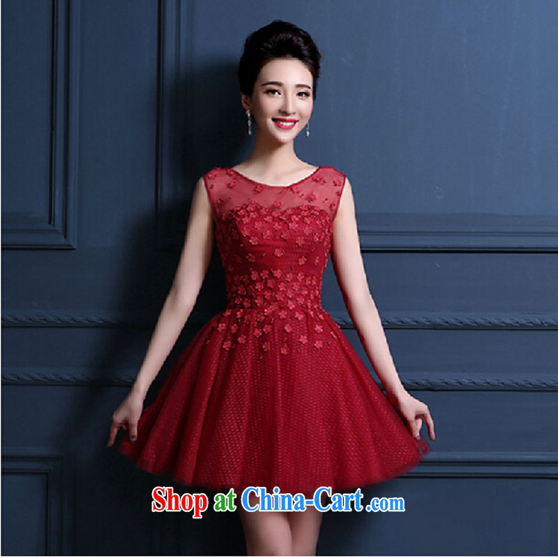 New, small wedding dresses 2015 spring bridal toast serving marriage bridesmaid clothing short dresses banquet dress summer female dark red tailored contact Customer Service
