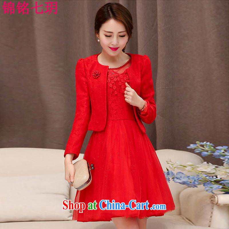 Kam Ming Yin Yue 7 summer 2015 new marriages wedding dresses serving toast bridesmaid dress uniform dress, two-piece red XXL