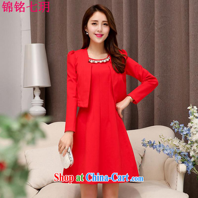 Kam Ming Yin Yue 7 summer 2015 new marriages wedding dresses serving toast bridesmaid dress uniform dress, two-piece red L