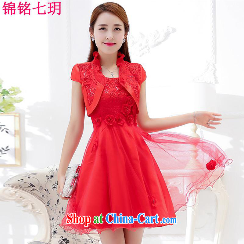 Kam Ming Yin Yue 7 summer 2015 new marriages wedding dresses serving toast bridesmaid dress uniform dress, red M