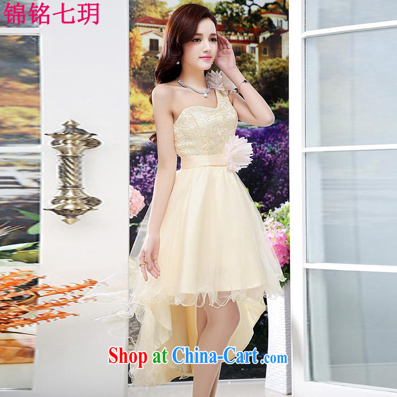 Kam Ming Yin Yue 7 summer 2015 new marriages wedding dresses serving toast bridesmaid dress uniform dress, apricot M