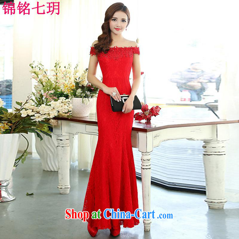 Lee Yin Yue 7 summer 2015 new only sexy wedding dresses serving toast dress banquet service, your shoulders red XL