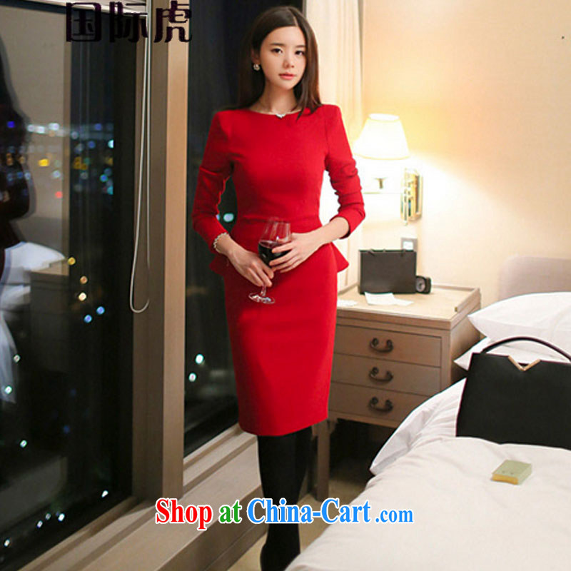 new long-sleeved elegant beauty skirt solid thick dress Korean red wedding dresses dress red M