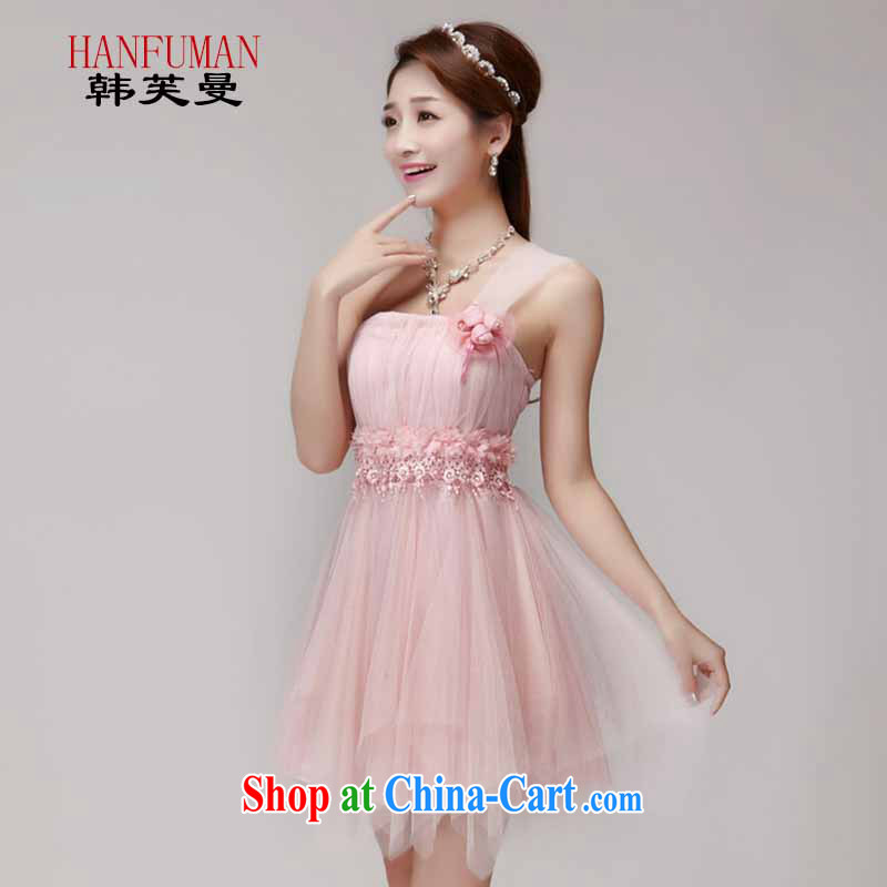 Korea could Cayman bridesmaid service 2015 new bridesmaid dresses in banquet dress sister dress short dress small summer pink L