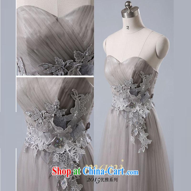 Evening Dress 2015 new summer short banquet dress dress girl bride toast wedding clothes fashion a Field shoulder light gray XXXL
