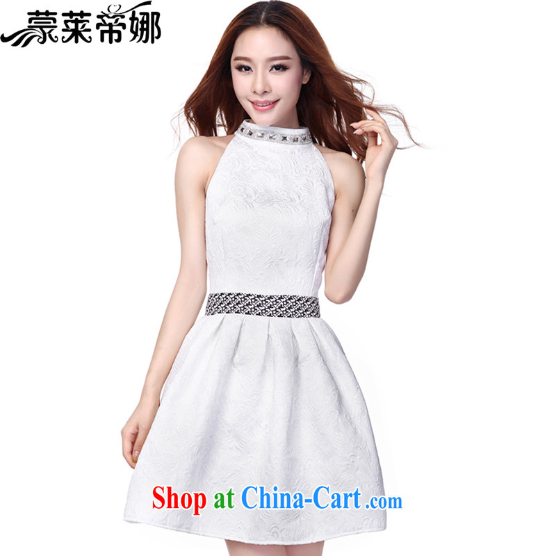 Tony Blair, in Dili, summer 2015 new dresses of Yuan Hong Kong small wind turbines in Europe and dress jacquard sleeveless dresses 653 white XL