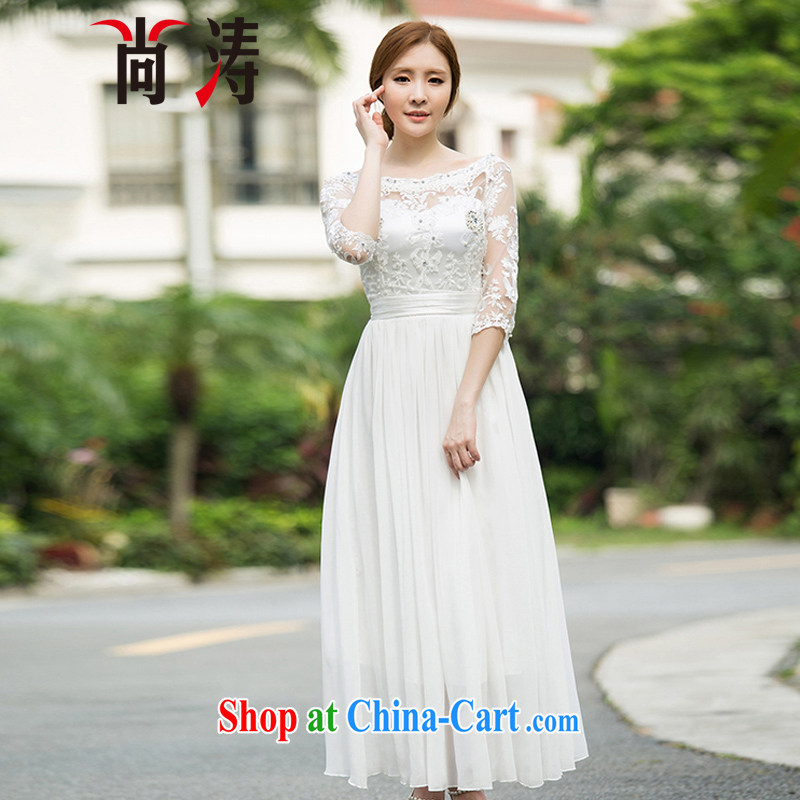 Hu Jintao was 2015 new summer a field for Pearl River Delta nails wood drill style 7 cuff dress dress Palace antique fairy skirt resort long skirt C 0018 white L