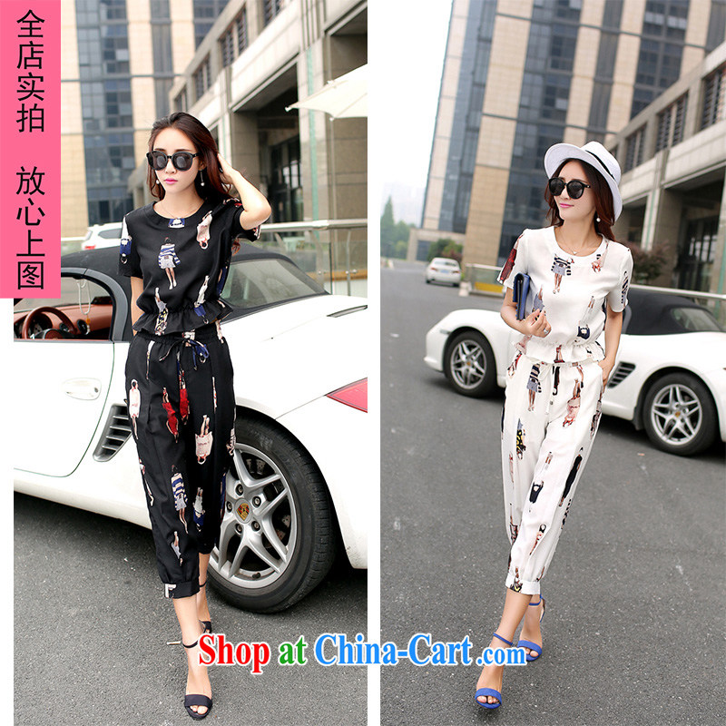 2015 summer new cotton Ma T shirts short-sleeve two-piece women retro, trouser press 7 pants of Korea 5522 black XXL