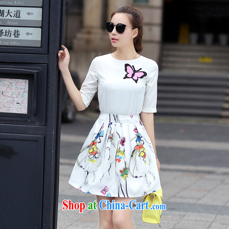 Real-time concept 2015 summer stylish small fragrant wind stamp snow woven shirts body skirt casual dress Kit 5274 white XL