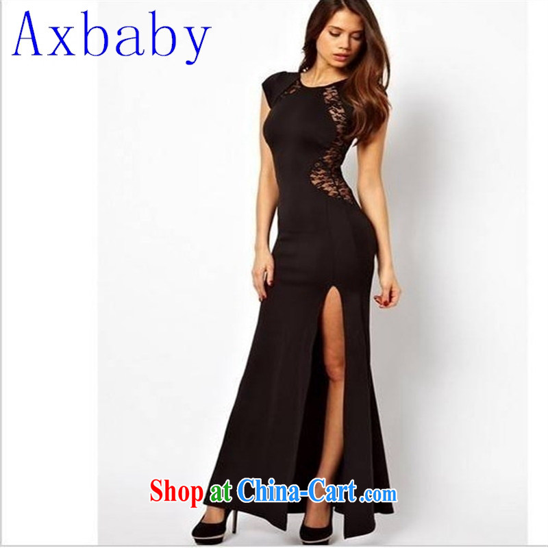 Axbaby 2015 Summer in Europe video thin sexy language empty the forklift truck dresses behind lace skirt night dress 8018 red XXL