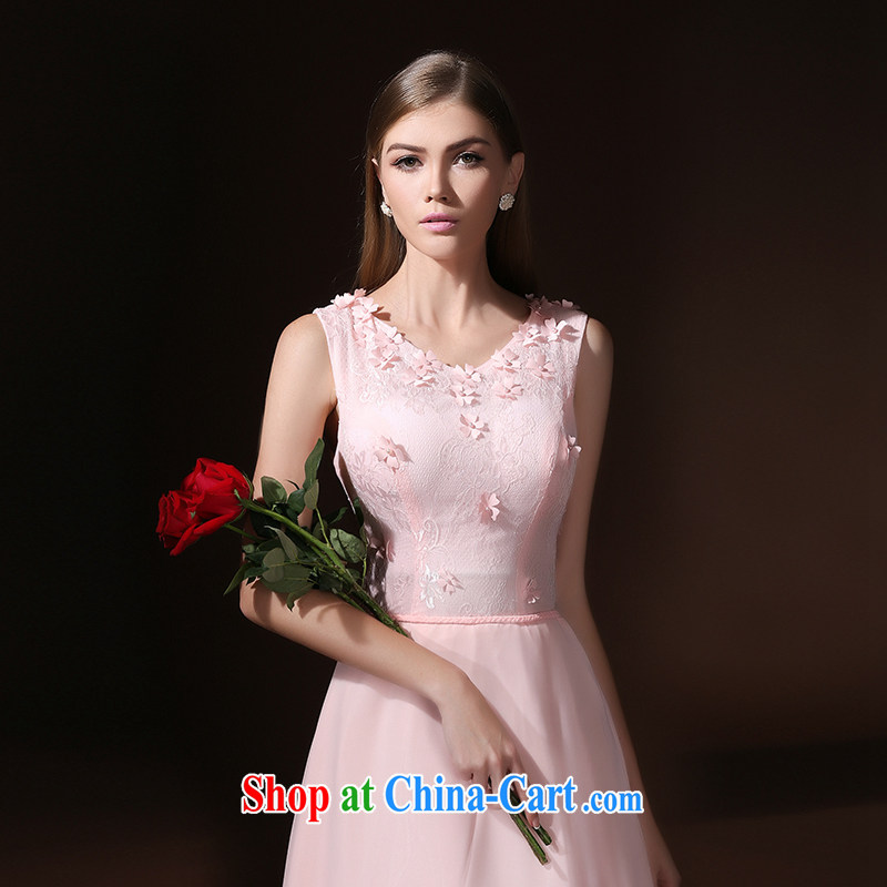 According to Lin graduated from Elizabeth the wedding dress woman married 2015 long evening dress bride's toast service wedding dress bridesmaid dress uniform pink L