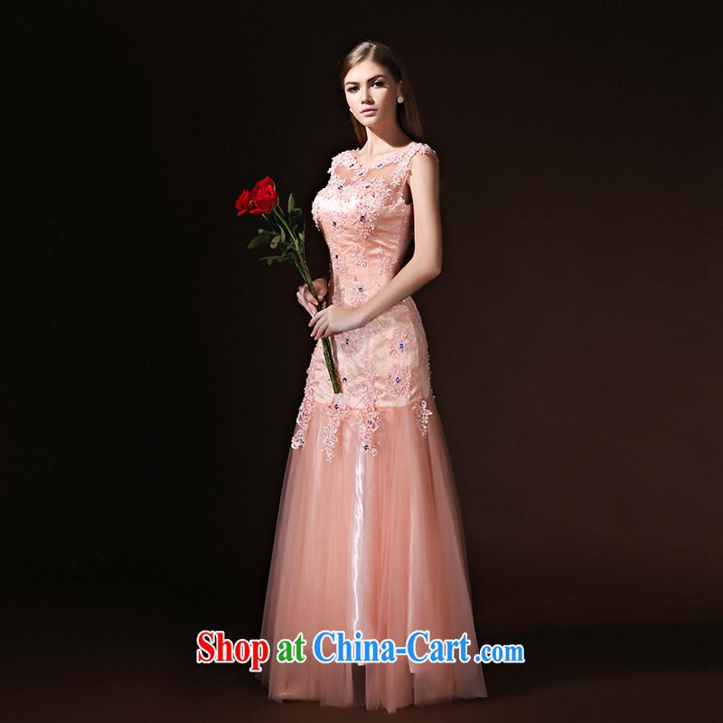 According to Lin Sha Evening Dress beauty crowsfoot long marriages served toast bridesmaid evening dress women 2015 new pink XL