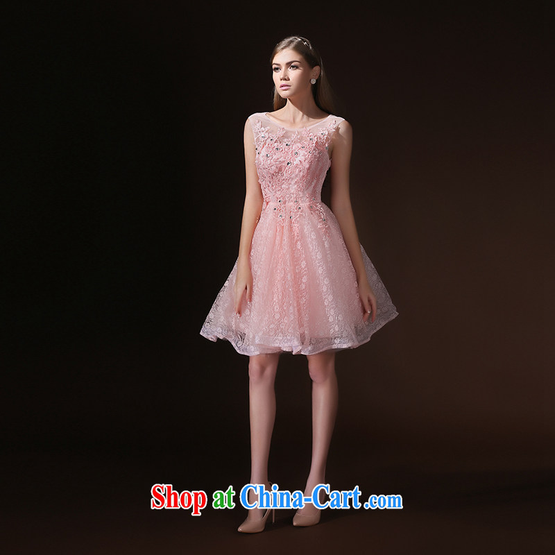 According to Lin Sa 2015 new summer short pink bridesmaid service shaggy dress bridesmaid dresses in evening dress sister dress uniform toast girl pink XL