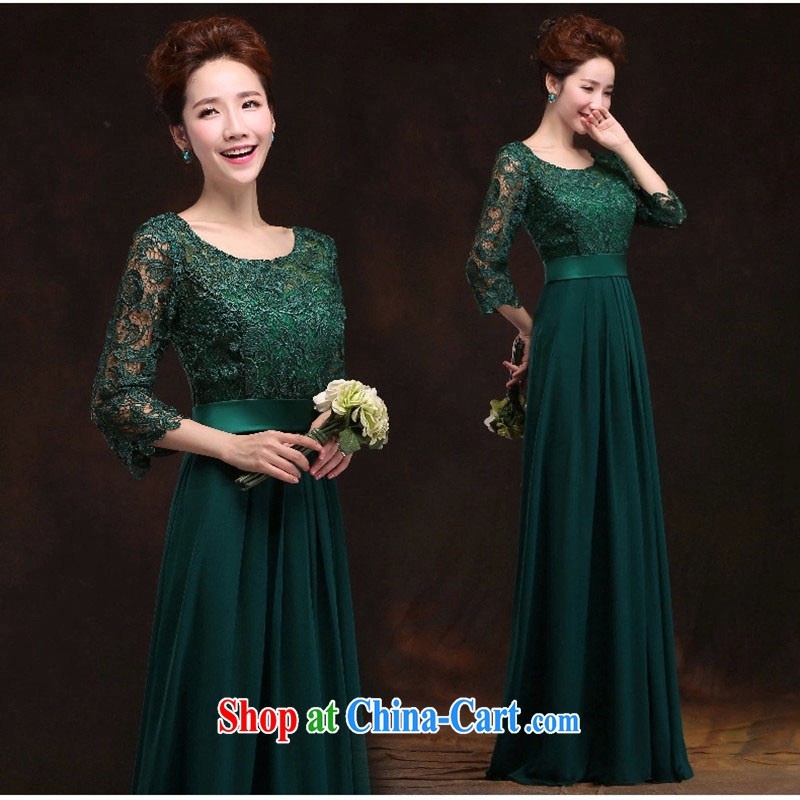 Toast serving long-sleeved bridal Evening Dress long sleek shoulders cultivating banquet evening dress bridesmaid service will show the new Green S