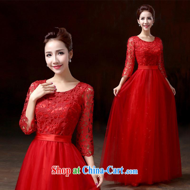 Evening Dress long, 2015 bridal dresses serving toast shoulders graphics thin bridesmaid dress a Field shoulder lace dress is red XXXL