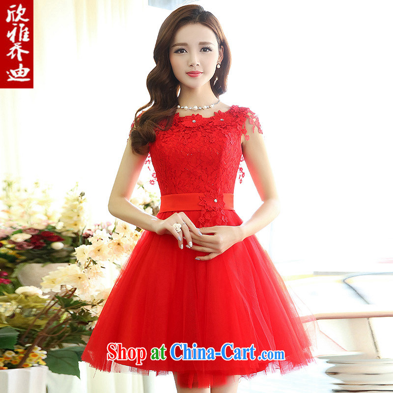 Yan Nga Jody 2015 New Red bridal toast serving short lace beauty wedding dress sister bridesmaid mission Small dress red XL