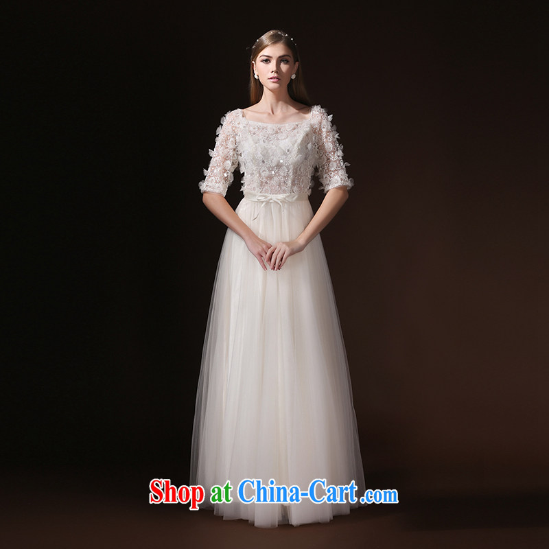 According to Lin Sha Evening Dress 2015 New Field shoulder long-sleeved bridal toast summer clothing moderator dress evening dress long beige XL