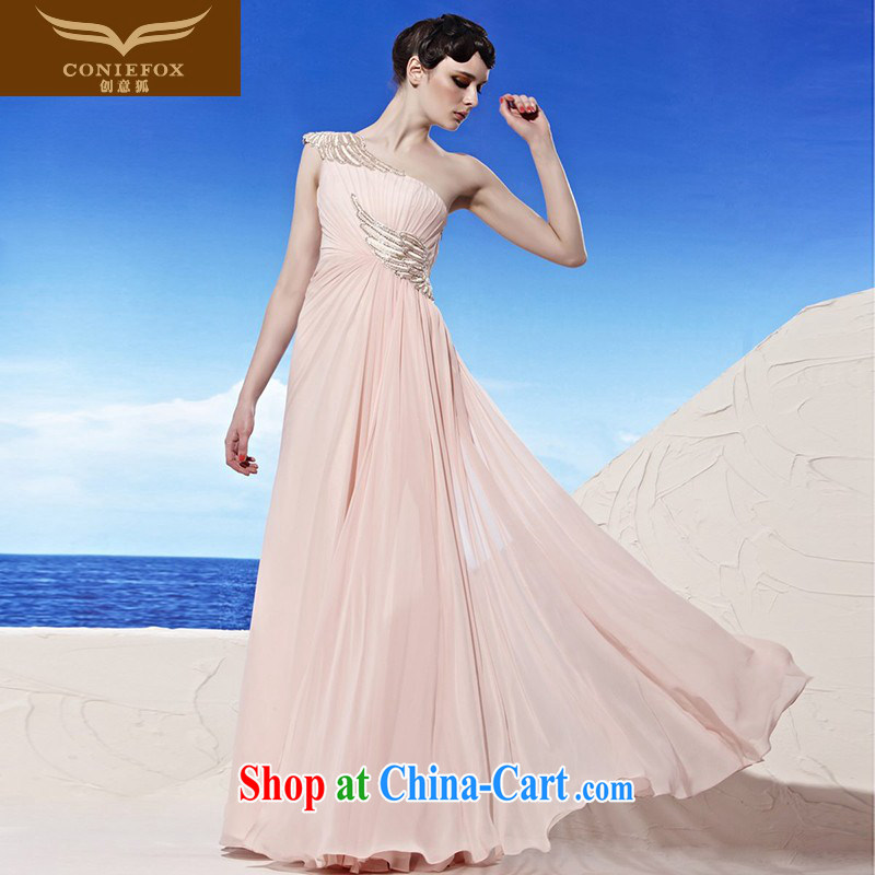 Creative Fox dress single shoulder a shoulder dress Korean pink long evening dress bridal bridesmaid dress elegant long skirt the annual 56,896 dresses pink S
