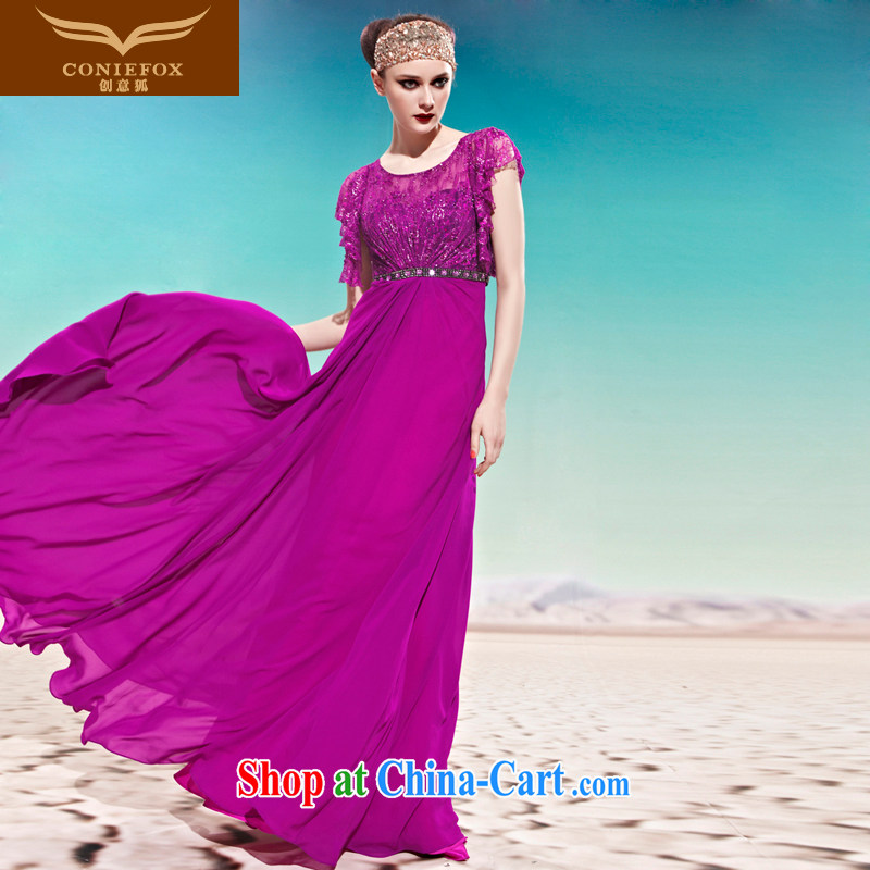 Creative Fox Evening Dress elegant long banquet evening dress lace evening dress purple-waist dress dresses evening dress toast stage dress 56,886 purple XL