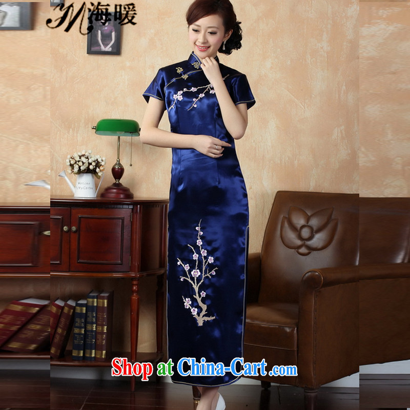 The warm 2015 cheongsam dress also heart home cyan XXL