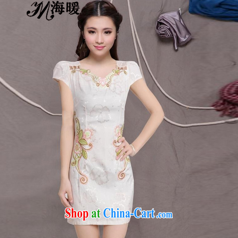 The warm 2015 cheongsam dress also heart homes _light yellow XL
