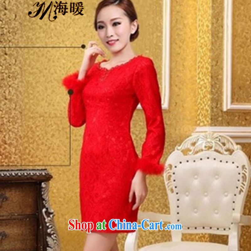 The warm 2015 cheongsam dress also heart homes red XXL
