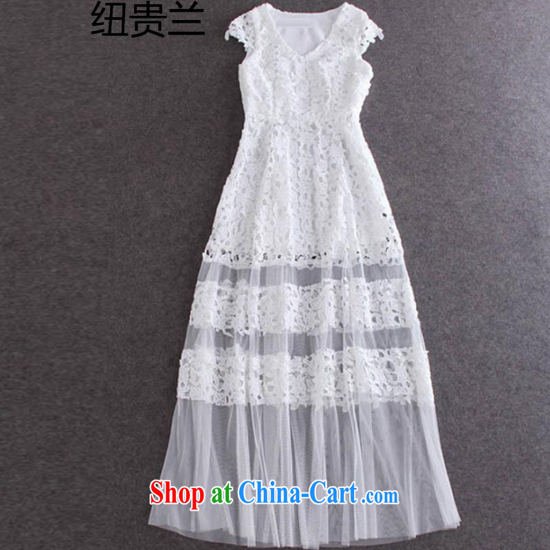 The New Zealand 2015, Zhang Ziyi and elegant water-soluble flower spell Web dress sexy V for cultivating dress long skirt 1396 white L