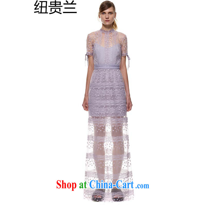 New Zealand, the United States and Europe 2015 star lace dresses of Yuan dress long skirt 6227 light purple L