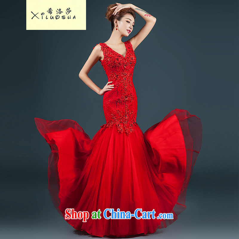 The Greek, Mona Lisa (XILUOSHA) Evening Dress 2014 new toast service bridal gown long cultivating crowsfoot double-shoulder stylish wedding dress red M