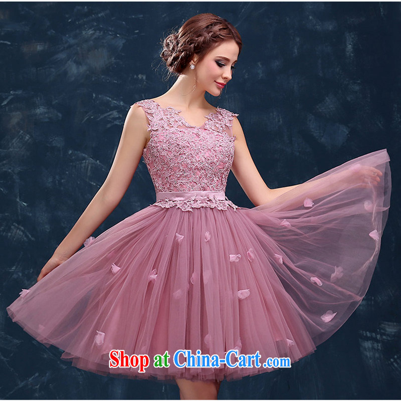 Evening Dress short, 2015 new wedding dresses summer double-shoulder V collar marriages served toast the wedding banquet female 豆沙 color will do not return does not switch