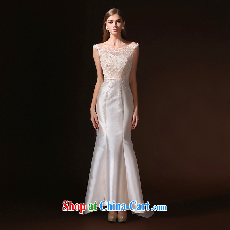 According to Lin Sha 2015 spring and summer new, wedding dress bridal Evening Dress beauty crowsfoot bridal toast serving champagne color XL