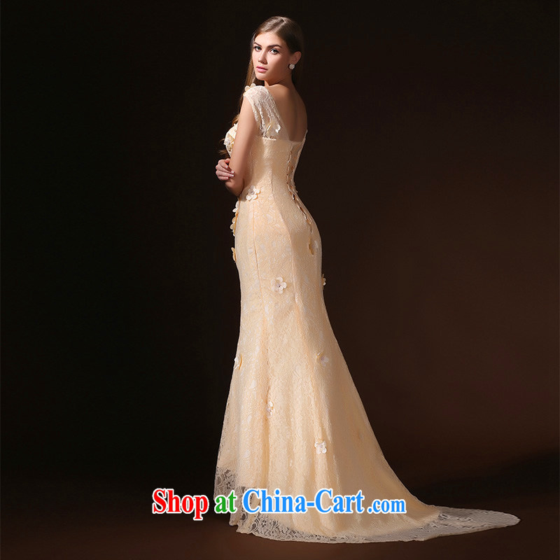 According to Lin Sa 2015 new crowsfoot dress long-tail marriages served toast marriage beauty bows dress champagne color XL