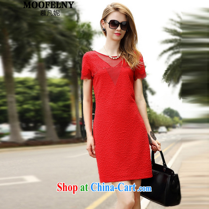 The Stephanie 2015 summer new female French lace sexy jacquard embroidery dresses small dress red XL