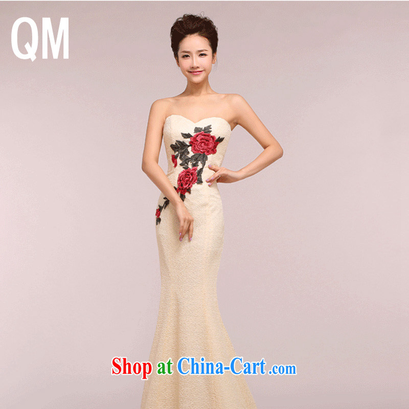 Shallow end bows beauty service embroidery erase Chest dinner dress qipao WMBlf 1215 champagne color XXL
