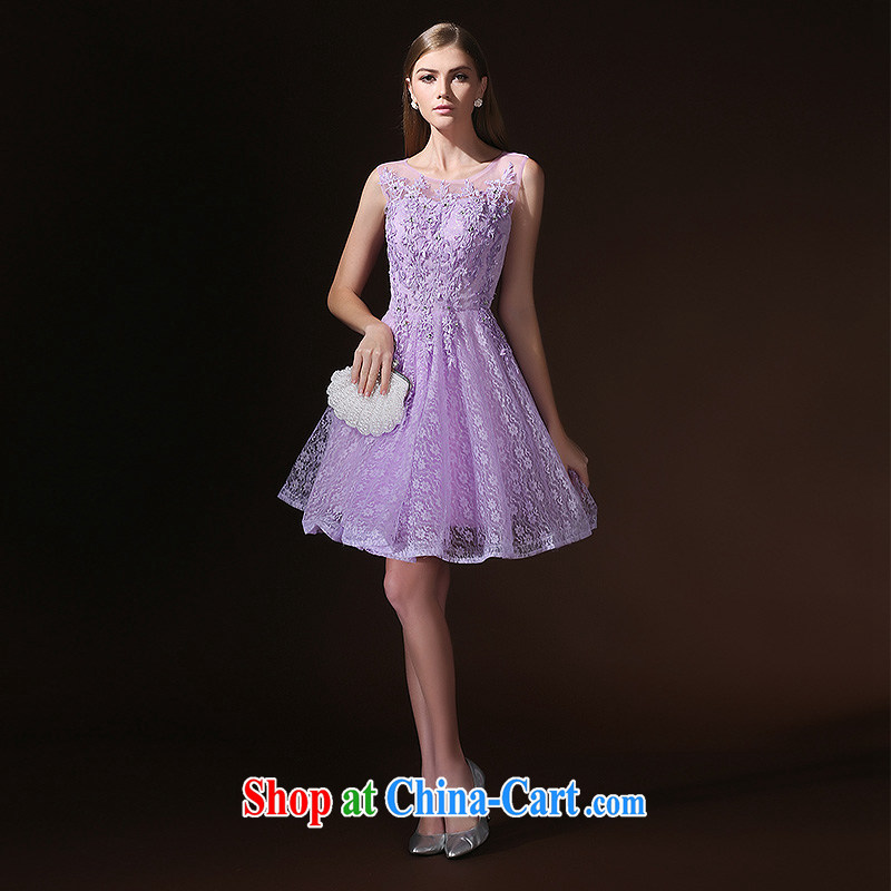 2015 new terrace back bridesmaid dresses clothing purple summer short sister dress bridal toast serving light purple L
