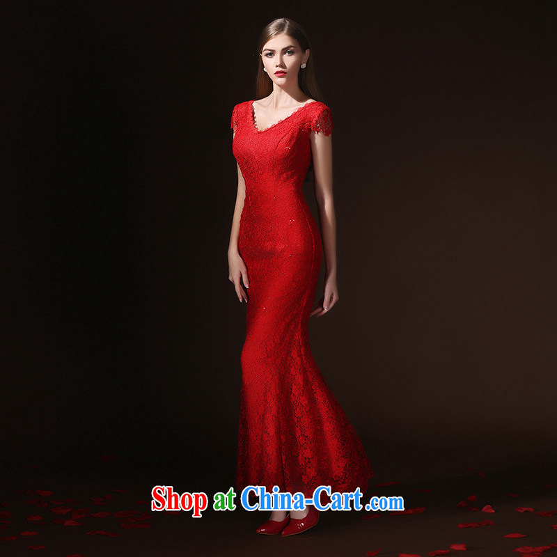 According to Lin bows her Service Bridal Fashion toast clothing Evening Dress long crowsfoot cultivating a field shoulder wedding dresses wedding dress spring and summer red XL