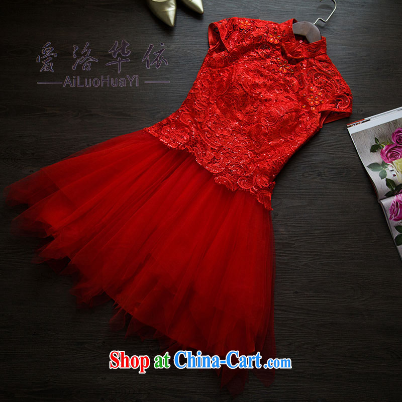 2015 new lace bows clothing Red Beauty dresses dresses wedding dresses summer shaggy skirts short red M