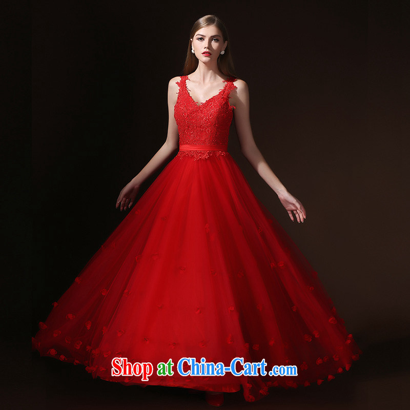 According to Lin Sa 2015 New Long Red Korean V collar bridal toast dress lace Evening Dress skirt female Red L