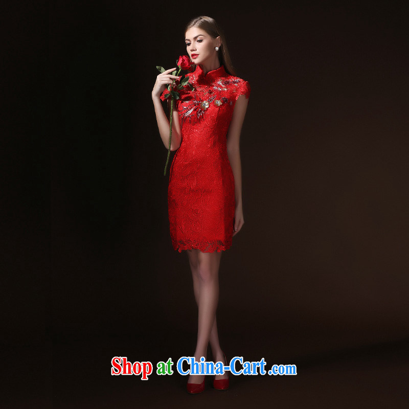 According to Lin Sa 2015 new bride wedding dresses Chinese qipao toast serving short, cultivating dress at Merlion dress red XL
