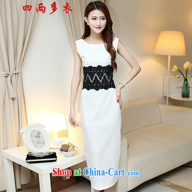 42 multi-yi 2015 summer sense of beauty dresses back exposed the forklift truck package and long skirt Evening Dress 1656 white L