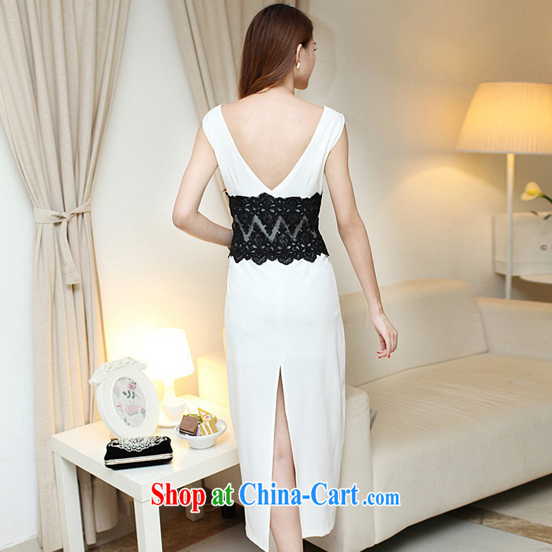 42 multi-yi 2015 summer sense of beauty dresses back exposed the forklift truck package and long skirt Evening Dress 1656 white L, 42 multi-yi, shopping on the Internet