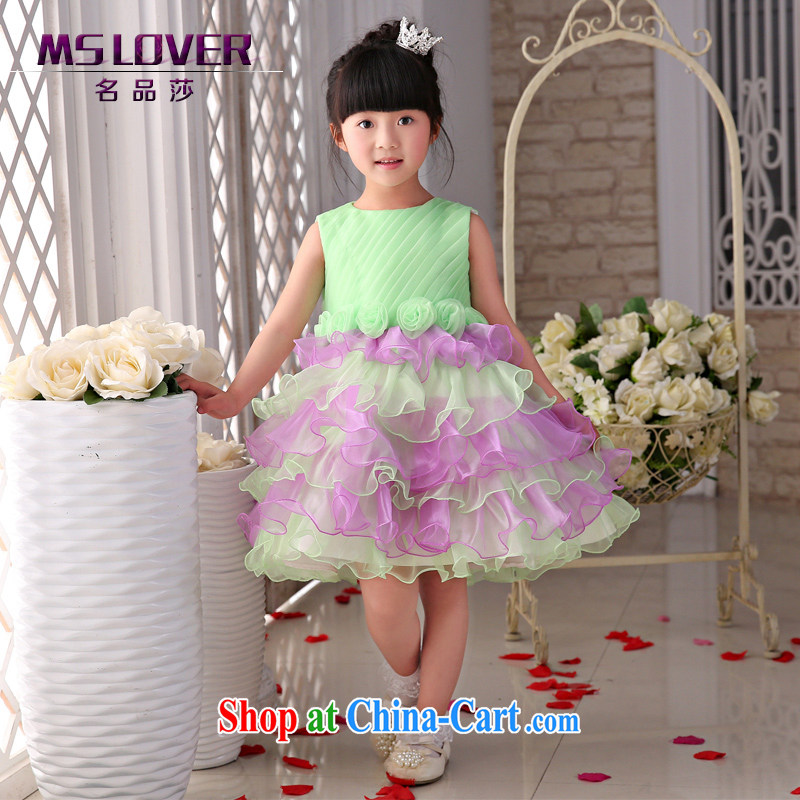 2015 MSLover new flower dress children dance stage dress wedding dress TZ 1505012 green 14 yards