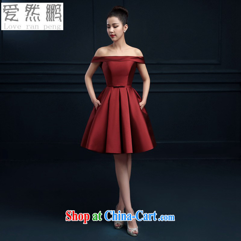 Love so Peng-a Field shoulder banquet dress 2015 new short evening dress summer dress party girl bride toast serving red wine red customers to size the Do Not Support RMA