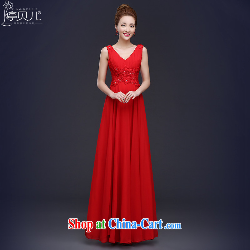 2015 new bride toast serving summer red wedding dress girl, long double-shoulder V-neck Evening Dress beauty red XL