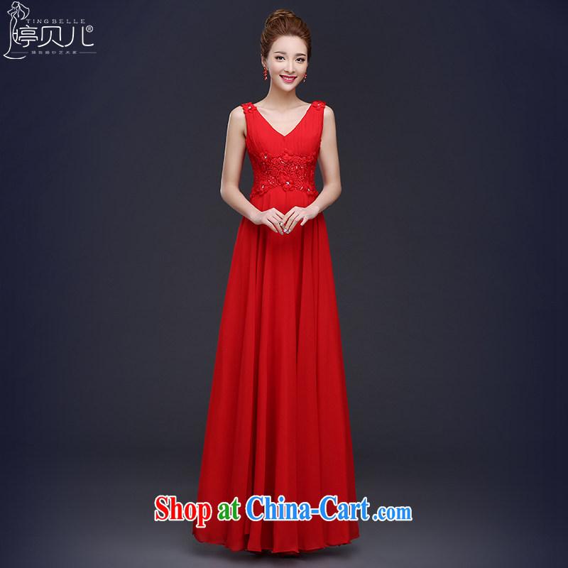 2015 new bride toast serving summer red wedding dress girl, long double-shoulder V-neck Evening Dress beauty red XL
