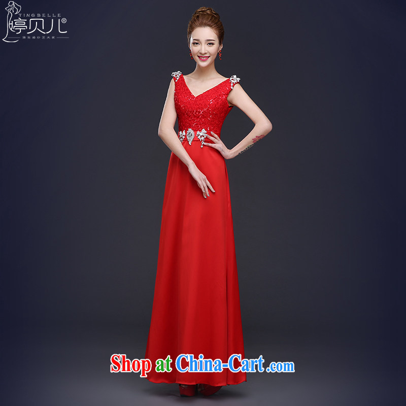 Toasting service summer 2015 new dual-shoulder dress bridal wedding bridesmaid beauty service long banquet dress girls spring red XL