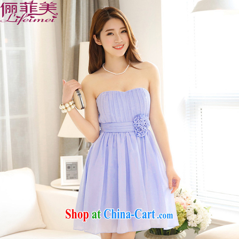The package mail stylish and simple Erase chest sexy bare shoulders high waist three-dimensional Manual Lumbar Flower Snow woven bridesmaid dress celebration snow woven dresses blue-violet are code F