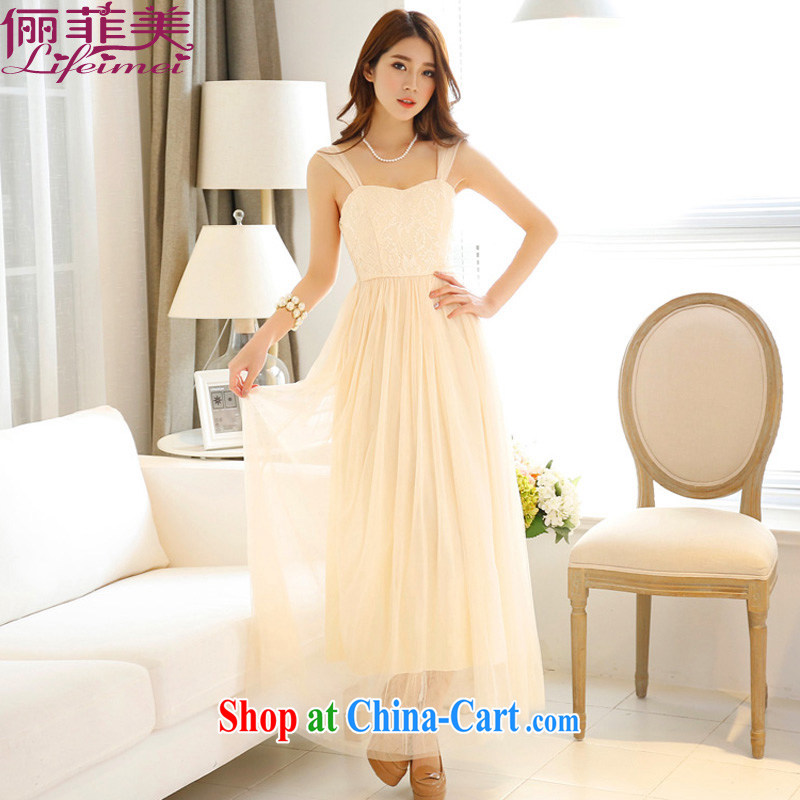 The package-style double-shoulder Korean style lady Web yarn Princess dress with her sister dress Evening Show dresses champagne color long
