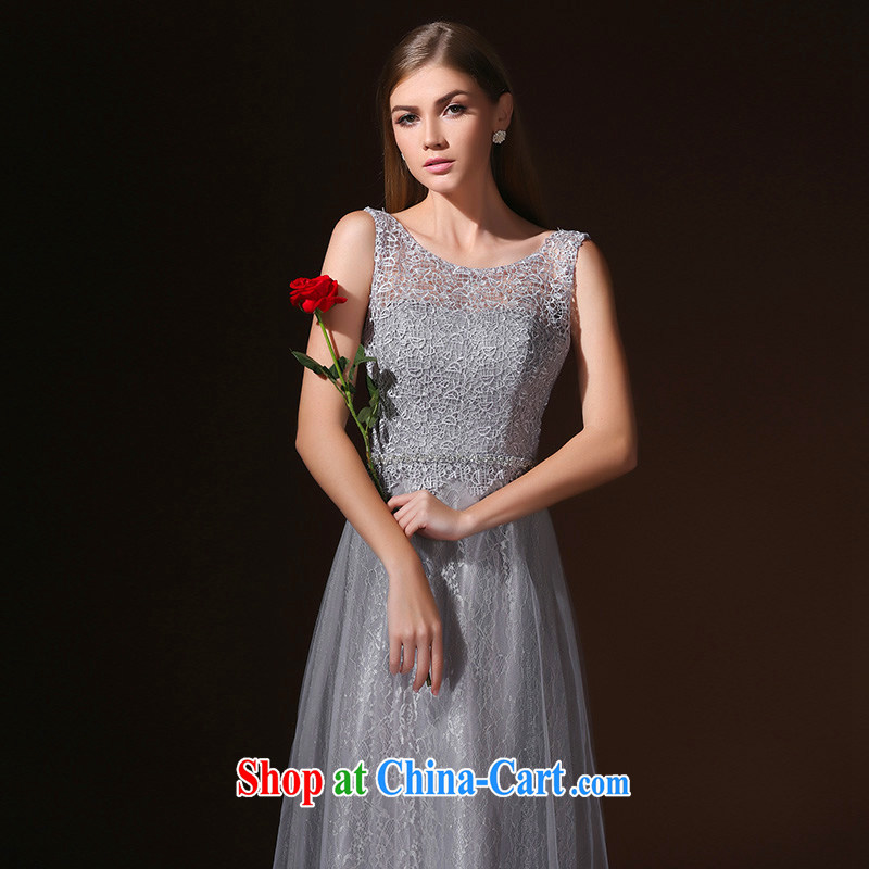According to Lin Elizabeth new 2015 spring and summer long dress shoulders marriages served toast diamond jewelry bridesmaid Evening Dress gray XL